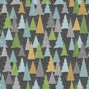 Lewis & Irene - Hygge Christmas - 5988 - Pine Trees on Black C30.3 - Cotton Fabric